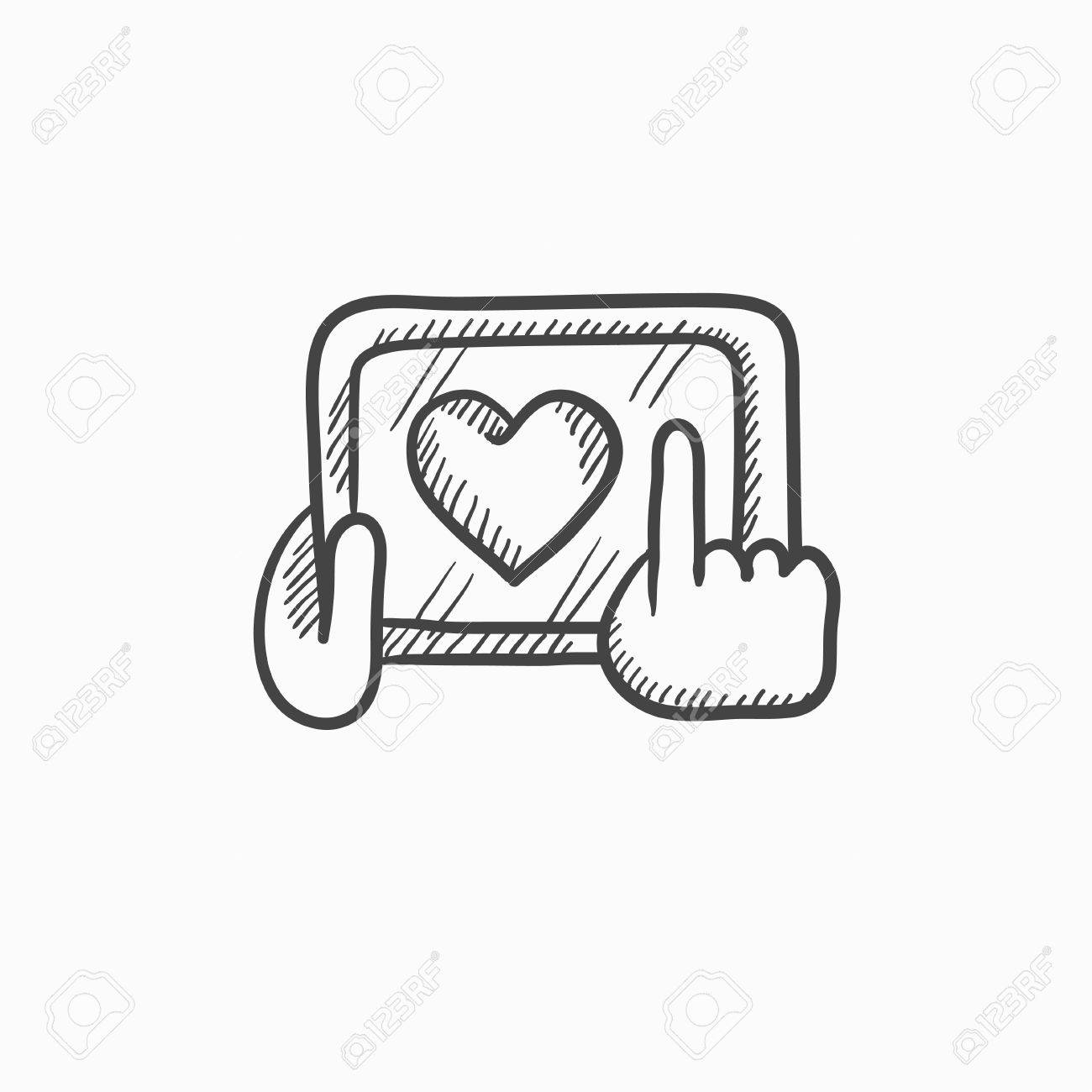 1300x1300 Hands Holding Tablet With Heart Sign Vector Sketch Icon Isolated