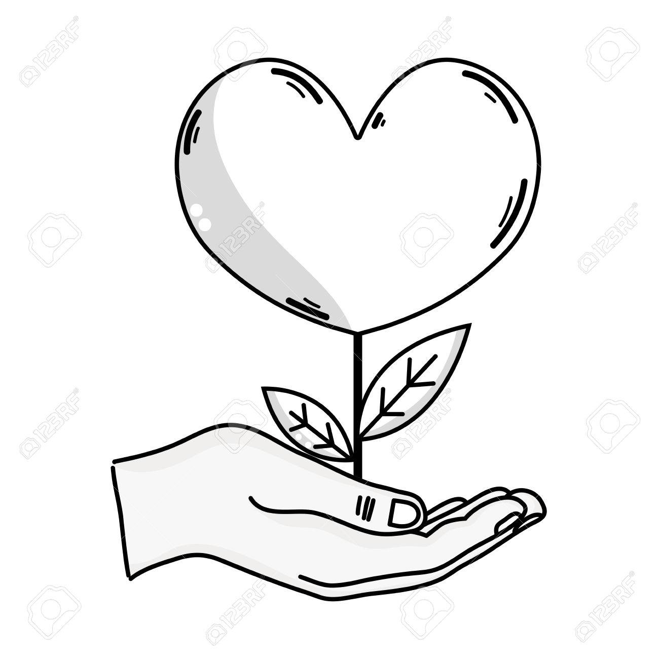 1300x1300 Outline Drawing Of Hand Holding Heart Shape Plant