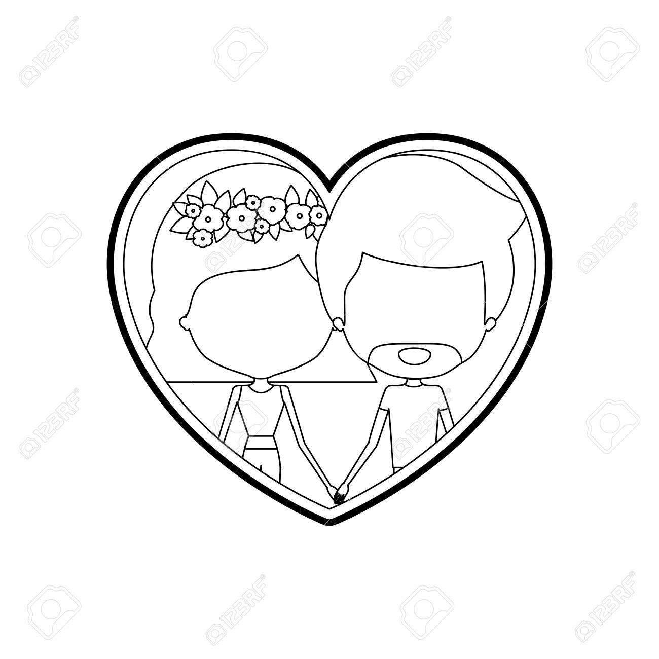 1300x1300 Sketch Silhouette Heart Shape With Caricature Faceless Couple Man