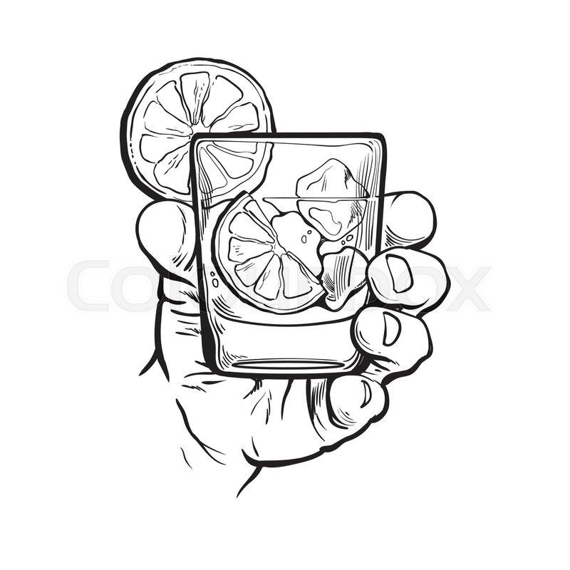 800x800 Hand Holding A Full Martini Glass, Vector Illustration Sketch Art