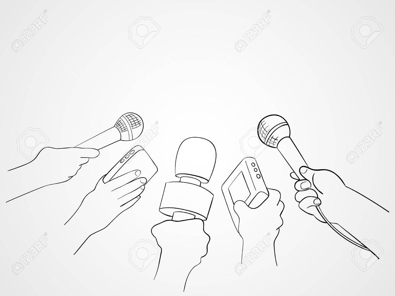 1300x975 Line Art Illustration Of Hands Holding Microphones And Recorders