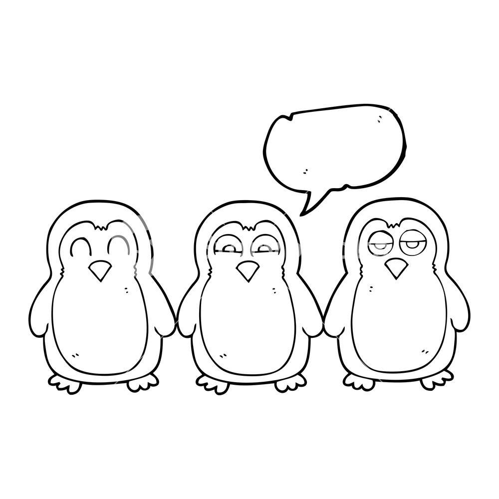 1000x1000 Freehand Drawn Speech Bubble Cartoon Christmas Robins Holding