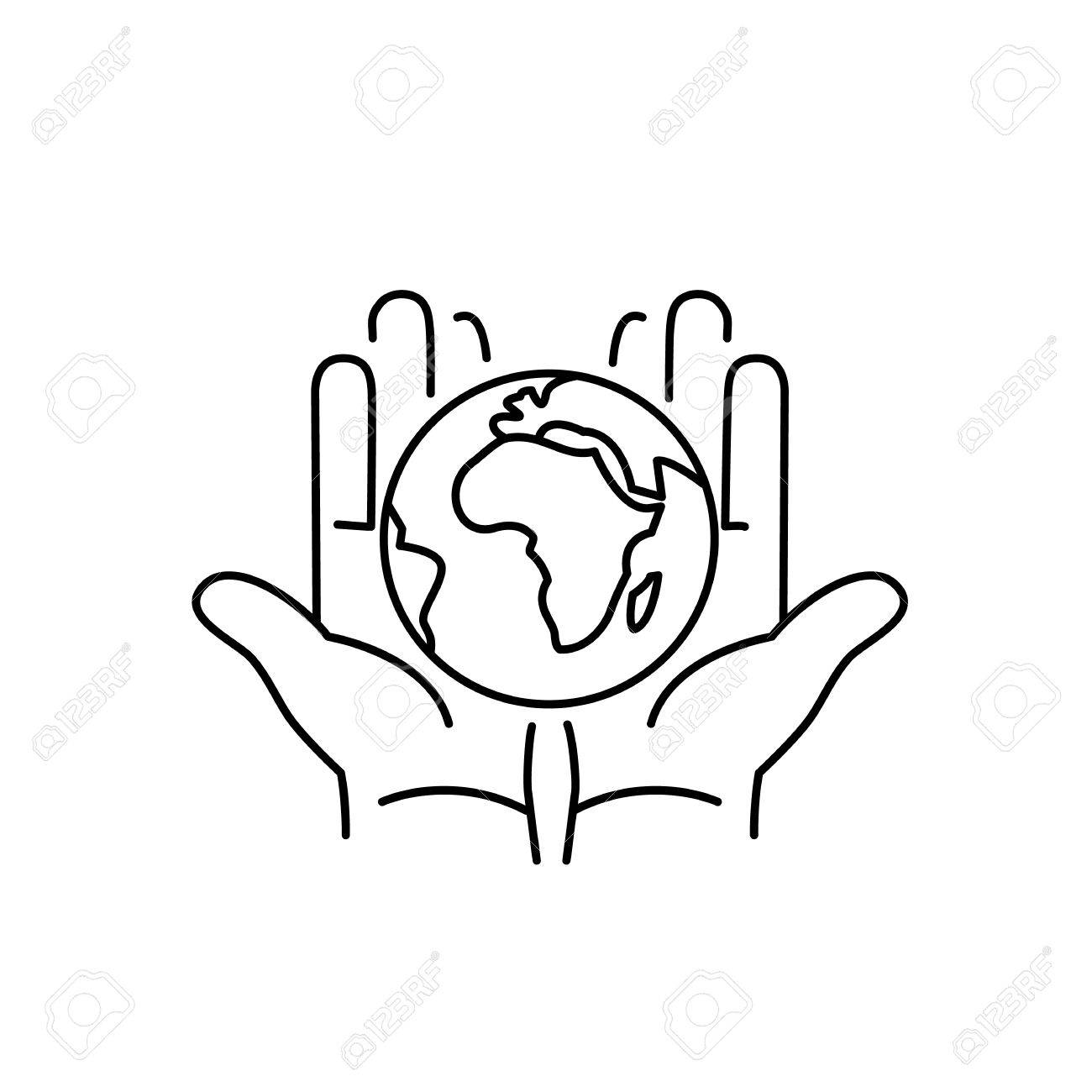 1300x1300 Hands Holding Globe In Palms Ecology And Environment Vector Icon
