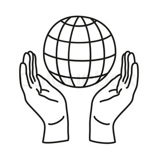 320x320 Man's Hands Holding The Earth Globe Stock Vector Colourbox