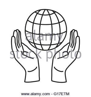 300x320 Two Hands Holding Globe Icon Drawn In Chalk Stock Vector Art