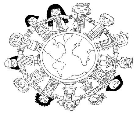 459x373 All Around The World Together Clipart Black And White