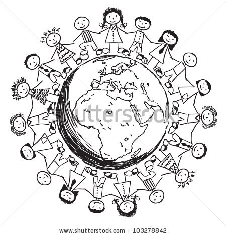 450x470 Books Around The World Black And White Clipart