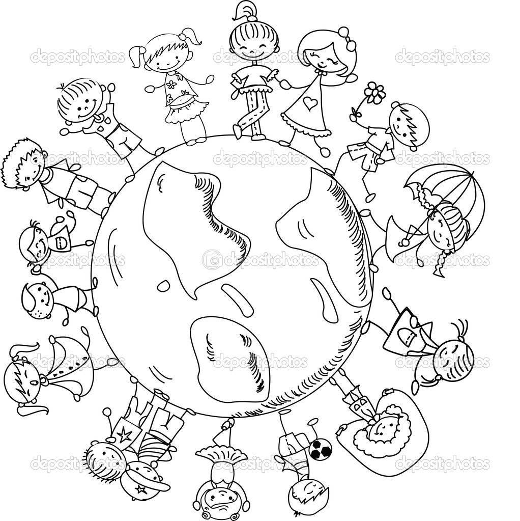 1022x1023 Children Holding Hands Coloring Page Happy Coloring Pages