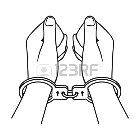450x450 Hands In Handcuffs Icon In Cartoon Style Isolated On White