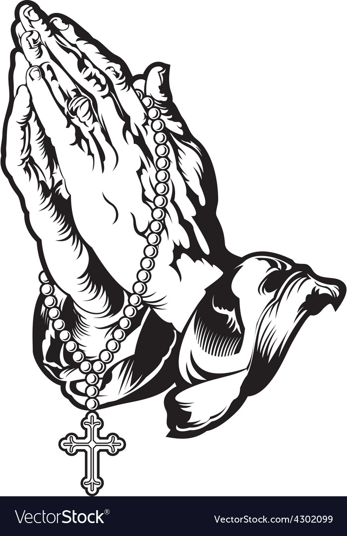 700x1080 Praying Hands Drawing With Rosary