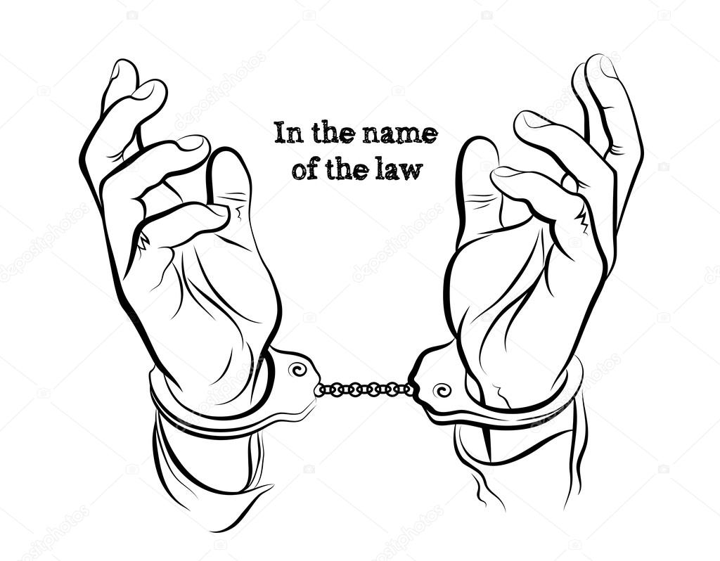 1024x798 Hands In Handcuffs With Lettering Stock Vector Alexcosmos