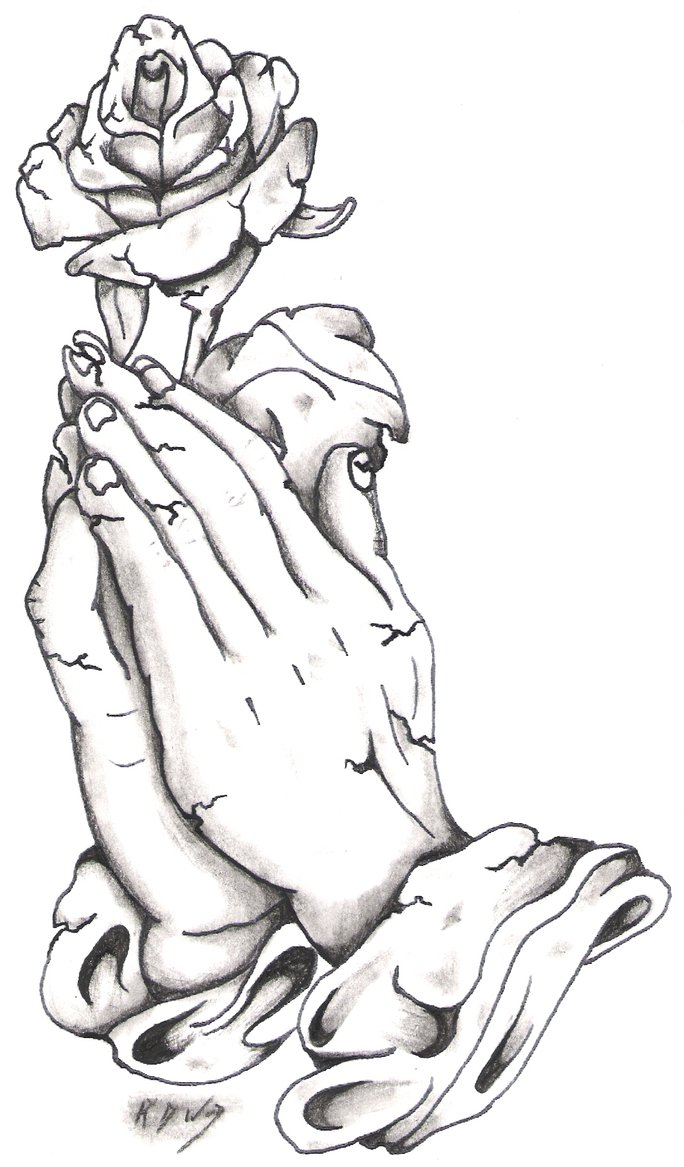 Hands In Prayer Drawing