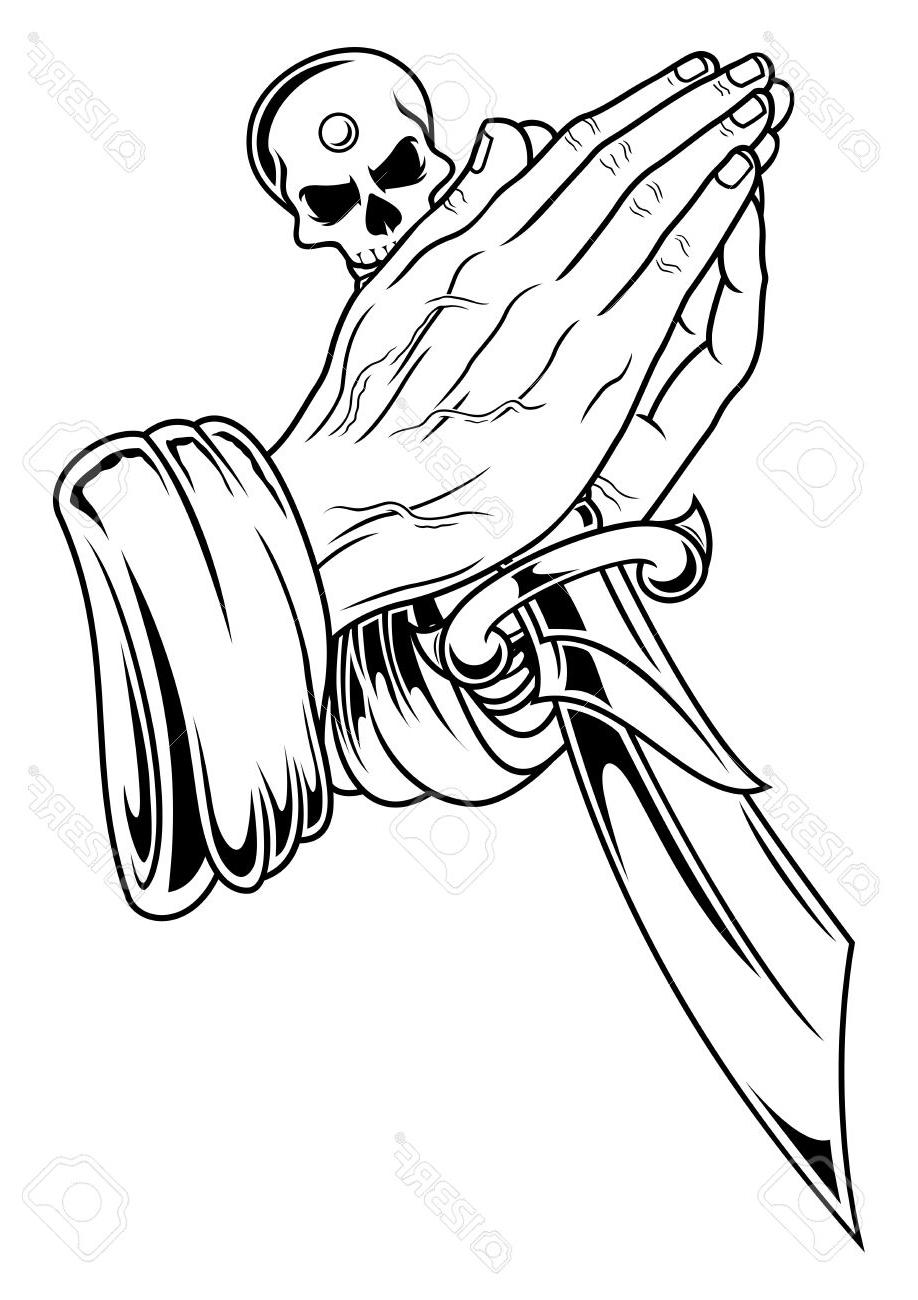 918x1300 Hd Black White Illustration Of Prayer Hand With Dagger Stock