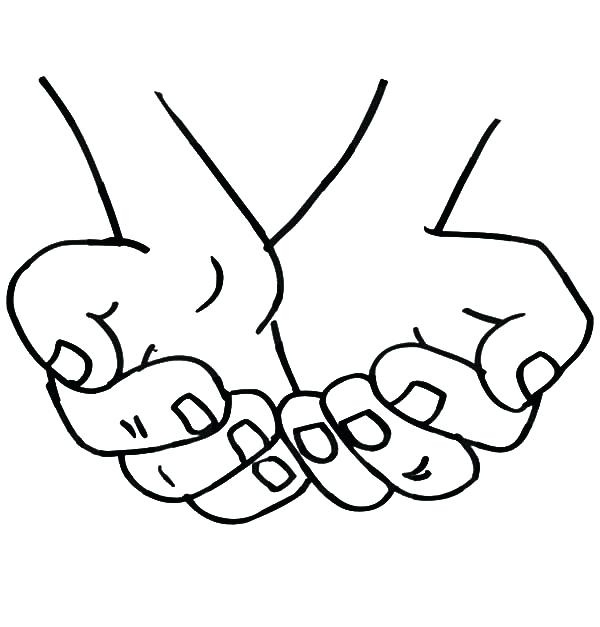 600x627 Praying Hands Coloring Page Cupped Hands Coloring Pages Childrens