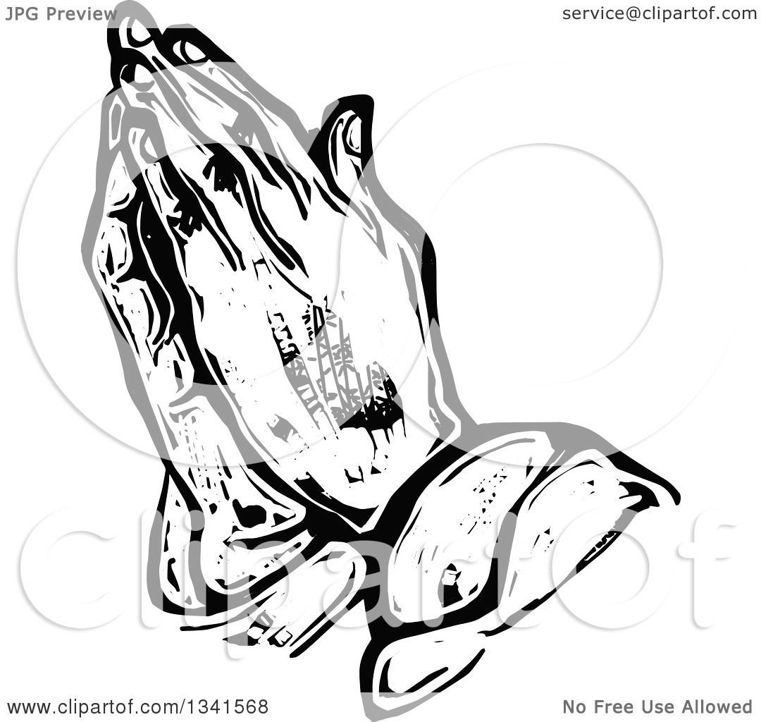 1080x1024 Clipart Of A Black And White Woodcut Styled Praying Hands