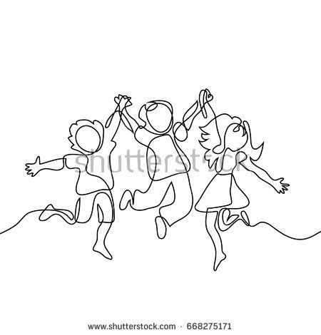 450x470 Happy Jumping Children Holding Hands. Continuous Line Drawing