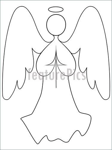 375x500 Illustration Of Angel Line Drawing