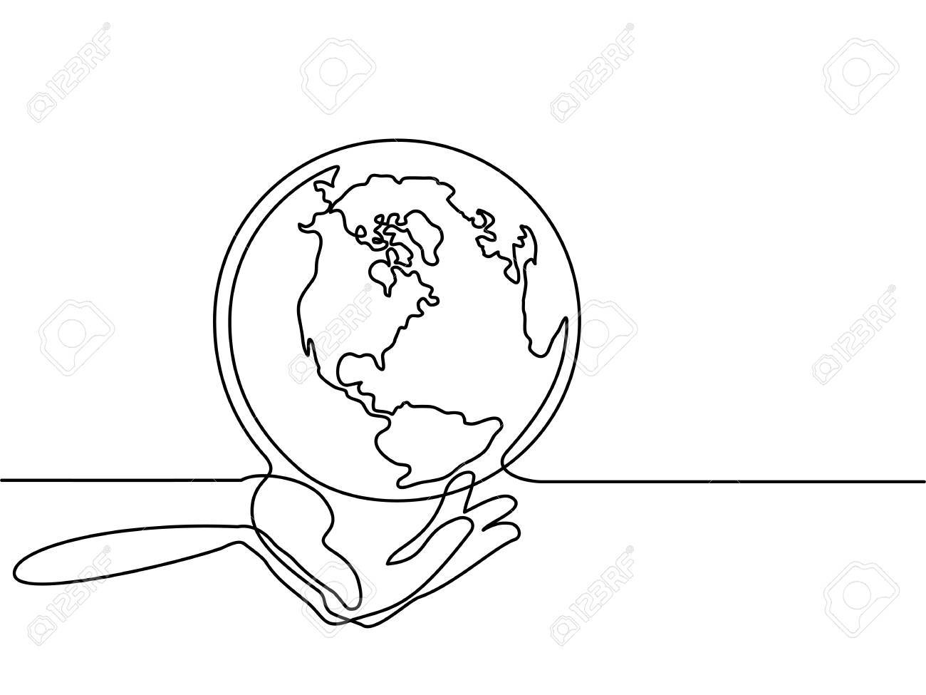1300x975 Continuous Line Drawing. Globe Of The Earth In Human Hands. Map