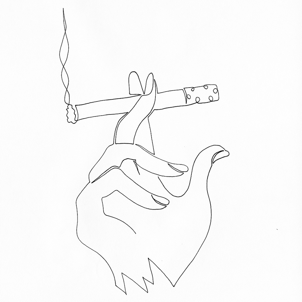 1024x1024 A Single Line Drawing Of A Hand Holding A Lit Cigarette