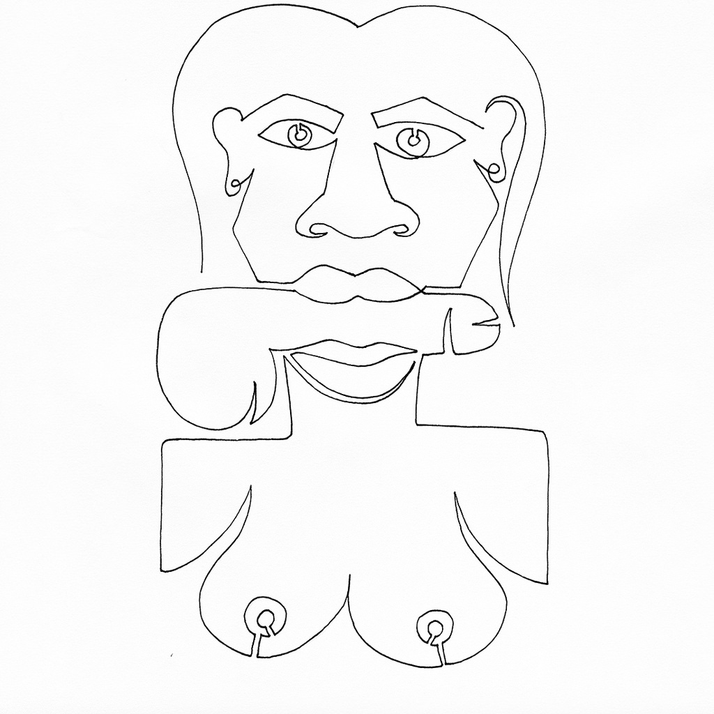 1024x1024 A Single Line Drawing Of A Women Trying To Say Look Ma