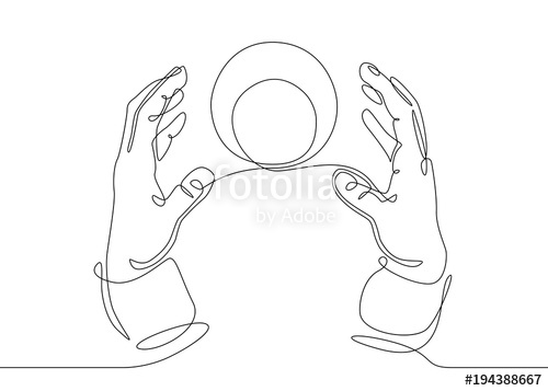 500x357 Continuous Line Drawing Hands With A Crystal Magic Ball Stock