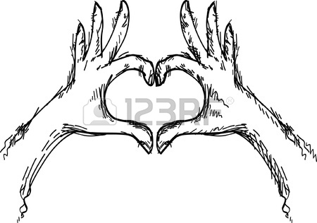 450x316 Finger Heart Sign Symbol With Love Balloon Text. Vector Royalty