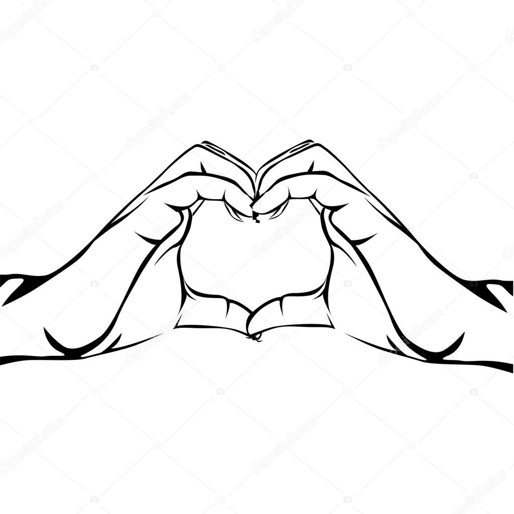 1024x1024 Hands Making Heart Gesture Image Stock Vector Grgroupstock