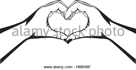 450x234 Illustration Of Hands Making A Shape Of Heart Stock Photo, Royalty