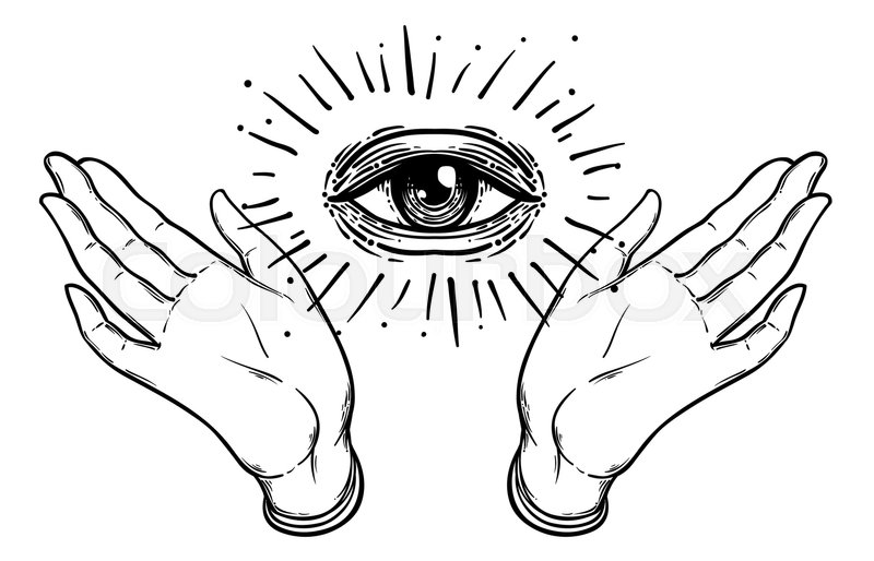 800x514 Open Hand With The All Seeing Eye On The Palm. Occult Design
