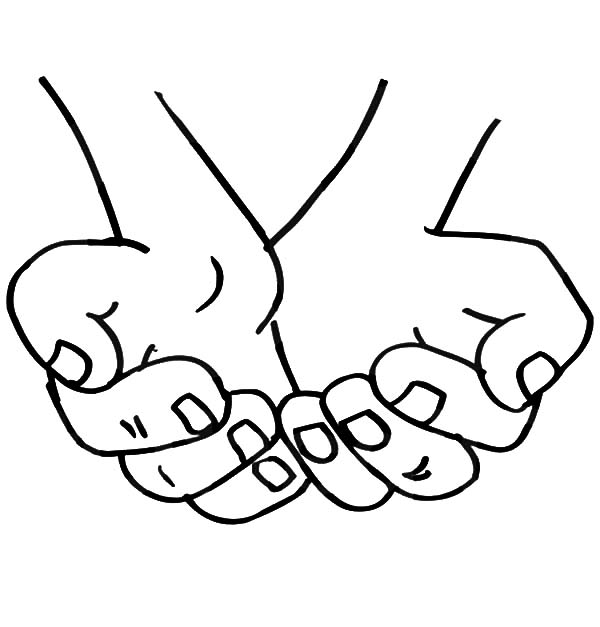 600x627 Childrens Praying Hands Coloring Page Boy Sheet Open Print