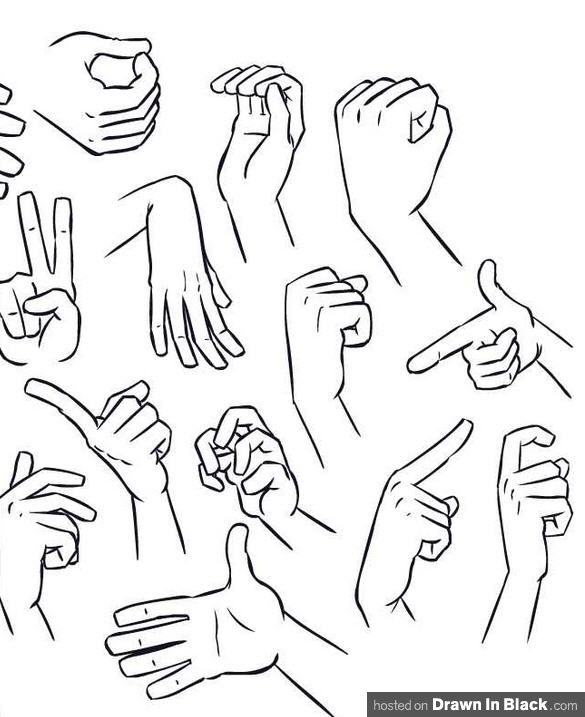 585x717 Drawn Finger Hand Poses