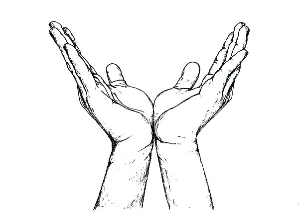 600x424 Good Praying Hands Coloring Page And Hands Shaking Colouring Page