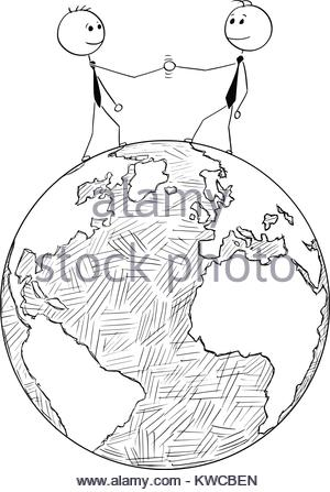 300x447 Vector Art Drawing Of Shaking Hands Of Two Male People Stock