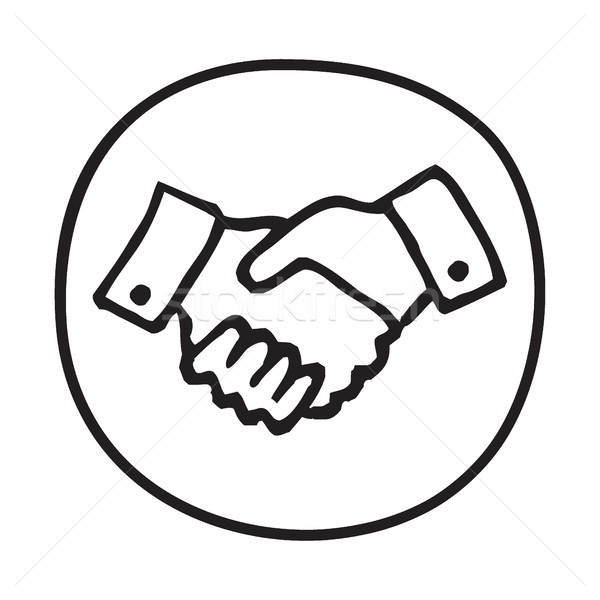 600x600 Doodle Shaking Hands Icon. Vector Illustration Pakete ( 7272723
