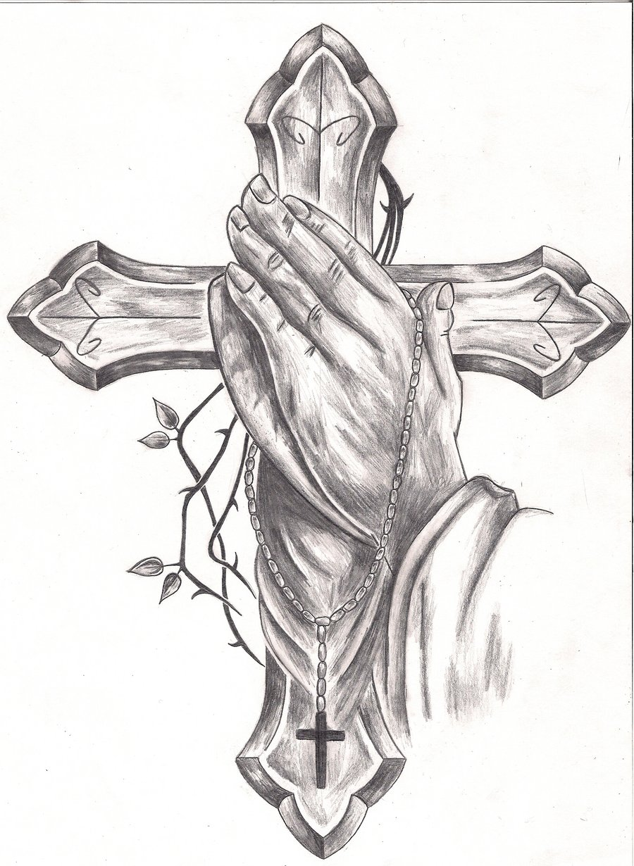 900x1230 Memorial Praying Hands Tattoo Sketch Photo