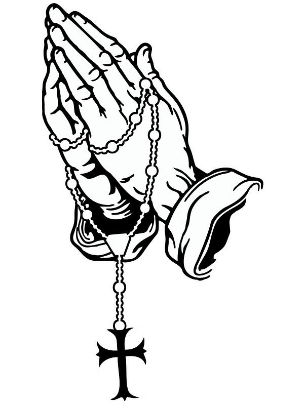 600x800 Praying Hands With Rosenkranz Stickers By Seanmilks Redbubble