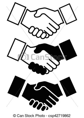 333x470 Handshake Icon For Business, Friendship Etc, With Three Clip