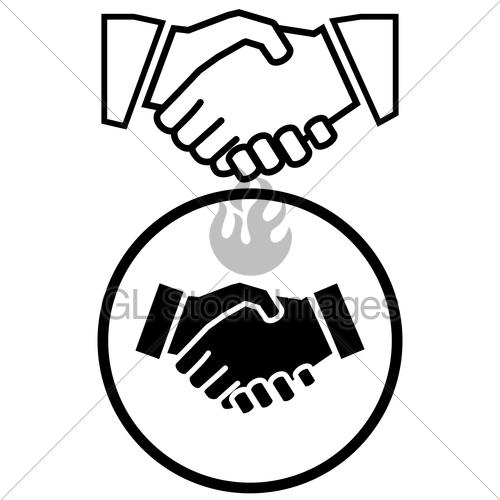 500x500 Business Handshake Icon Gl Stock Images