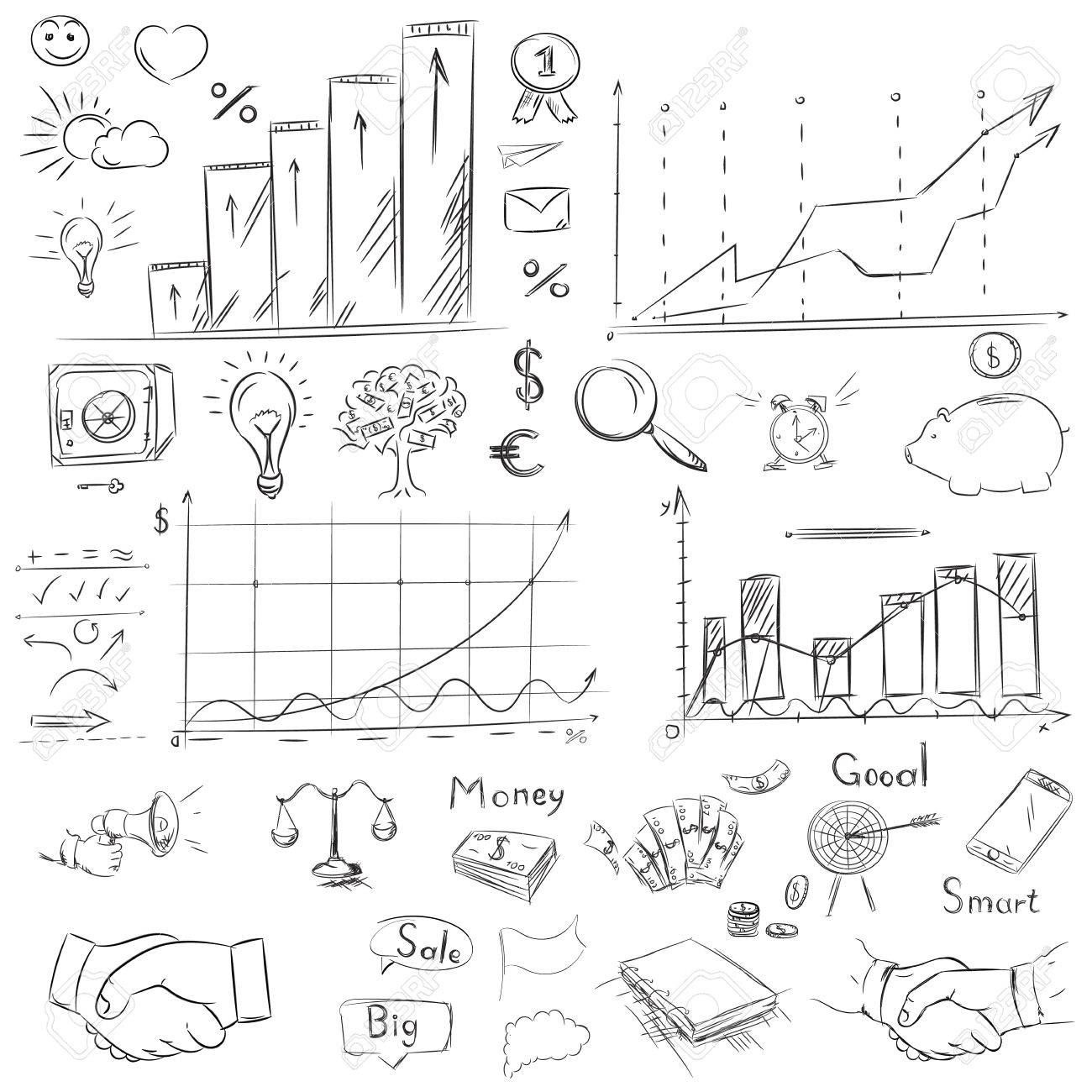 1300x1300 Sketch Collection Business Elements In Vector. Drawing Freehand