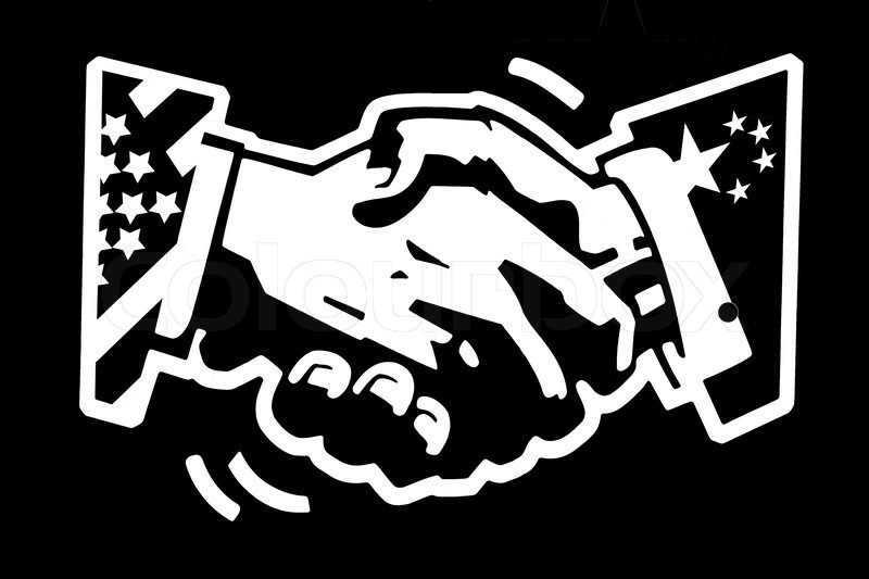 800x533 Stencil Drawing White On Black Painted Wall Of A Handshake