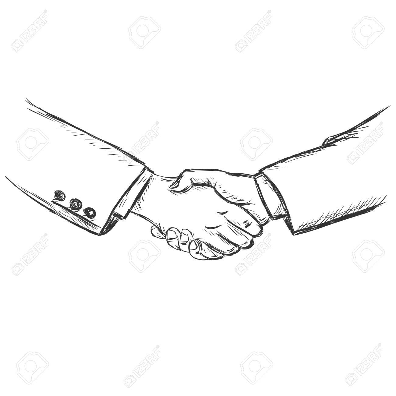 1300x1300 Vector Sketch Illustration Business Handshake Royalty Free