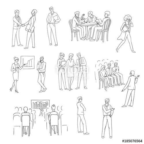 500x500 Vector Set Sketch Black Contour Isolated Illustration Of Business