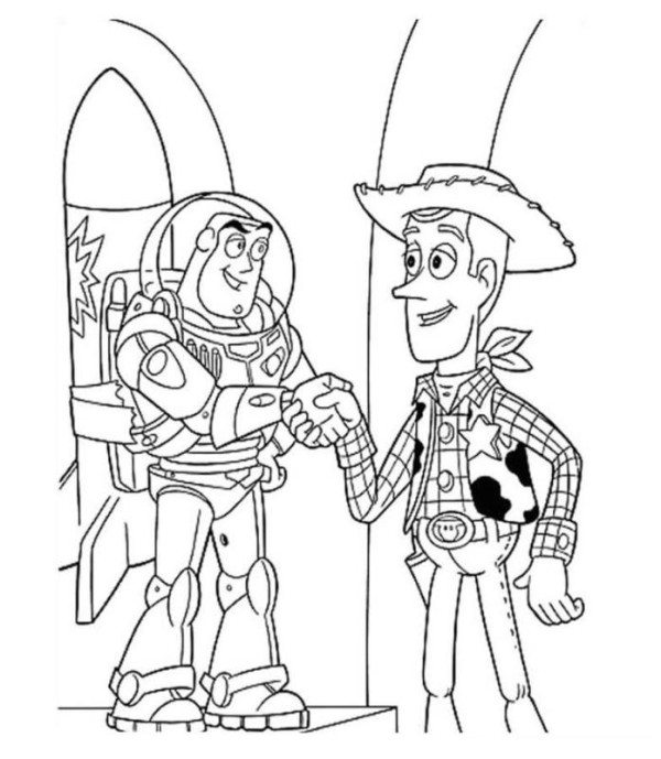 600x689 Woody And Buzz Handshake Toy Story Coloring Page