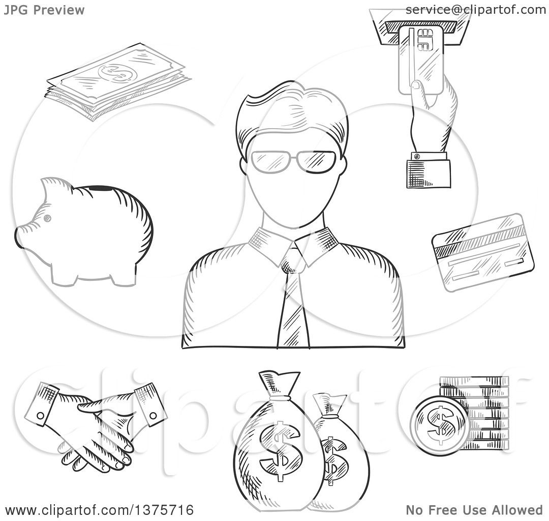 1080x1024 Clipart Of A Black White Sketched Clerk In Glasses
