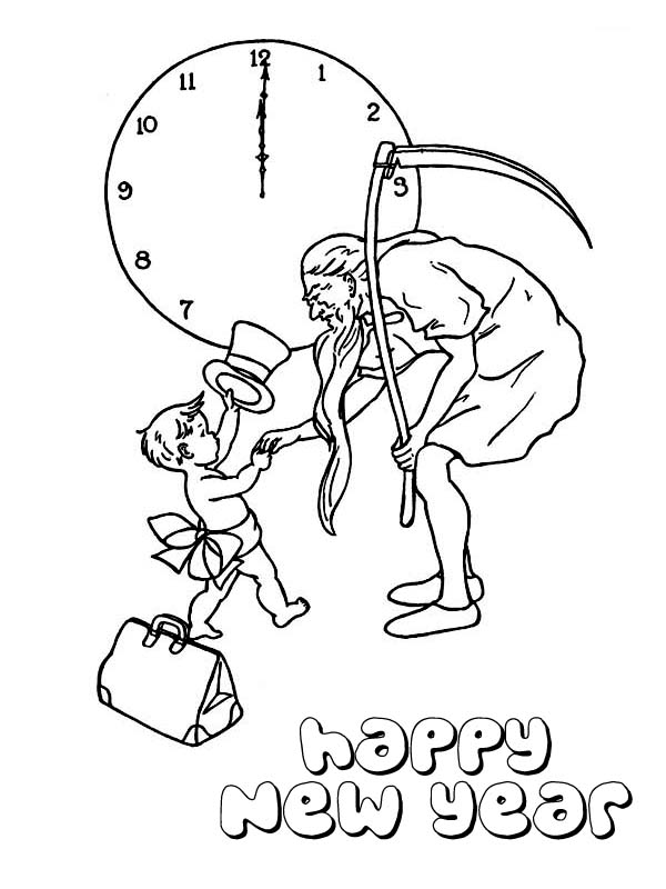 600x800 Cute Baby New Year Doing Handshake With Father Time On 2015 New