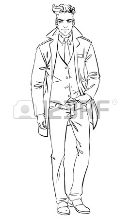 270x450 Handsome Man In A Coat.vector Illustration Royalty Free Cliparts
