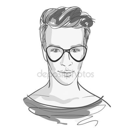 450x450 Handsome Fashion Men`s Portrait With Glasses. Gray Colored