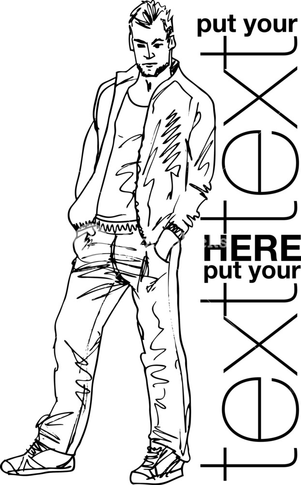 622x1000 Sketch Of Fashion Handsome Man. Vector Illustration Royalty Free