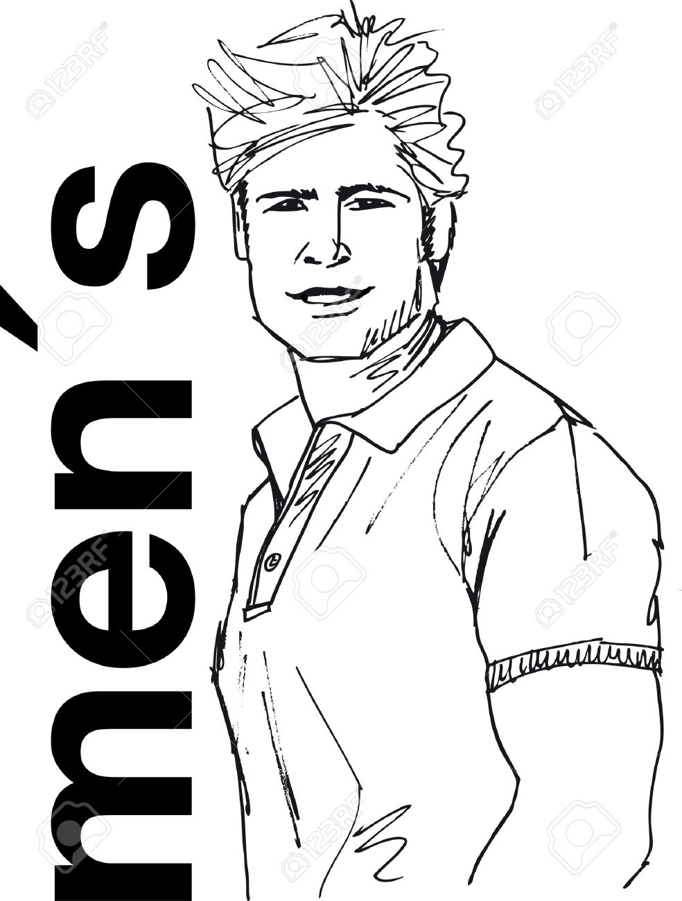 984x1300 Sketch Of Handsome Man Face. Vector Illustration. Royalty Free