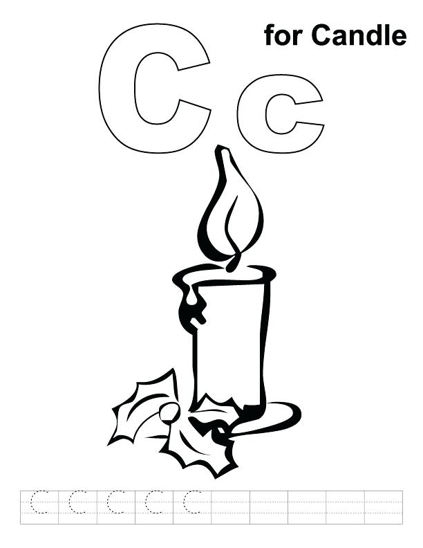 612x792 Candle Coloring Page C For Candle Coloring Page With Handwriting